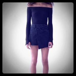 NWT Agolde criss cross skirt black size 29